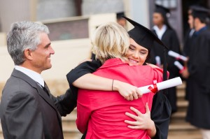 female graduate hugging her mother